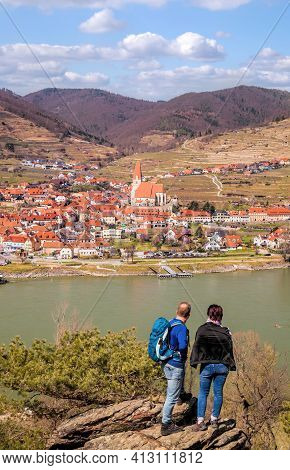Weissenkirchen Village With People On The Lookout Over Danube River During Spring Time In Wachau, Au