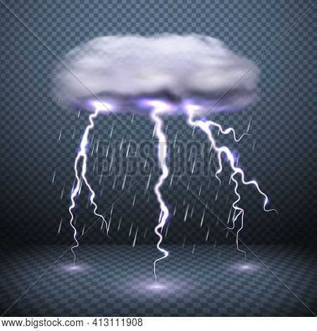 Dark Transparent Background With Stormy Cloud Lightning And Falling Rain Realistic Vector Illustrati