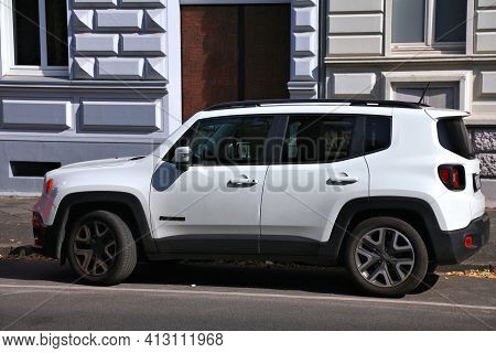 North Rhine-westphalia, Germany - September 16, 2020: Jeep Renegade Subcompact Crossover Suv Parked