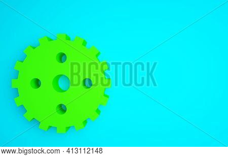 Green Bicycle Sprocket Crank Icon Isolated On Blue Background. Minimalism Concept. 3d Illustration 3