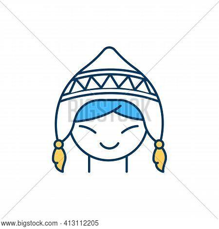 North Pole Inhabitant Rgb Color Icon. Eskimos. Arctic Indigenous Peoples. Chukchi, Yupik, Inuit. Ext