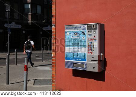 Rheydt, Germany - September 18, 2020: Cigarette Vending Machine In Rheydt, Germany. The Machines Are