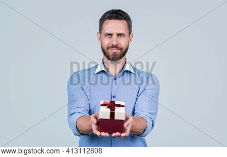 Happy Birthday To You. Handsome Man Give Birthday Present. Anniversary Celebration. Holiday Greeting