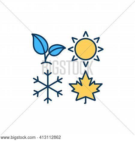 Seasons Rgb Color Icon. Spring, Winter, Summer. Fall, Autumn. Impact On Light, Temperature, Precipit