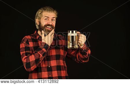 Alcohol Beverage. Modern Hipster Getting Drunk. Everything You Always Wanted In Beer. Brutal Bearded