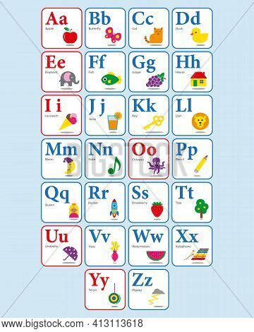 Colourful Cards With English Alphabet For Children Education In School Or Kindergarten