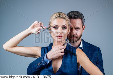 Couple In Love Embrace Having Romantic Relations Hold Hairdresser Tools, Hair Care
