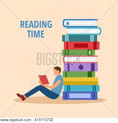 Man Reading Book With Stack Of Books In Flat Design. Reading Time Concept Vector Illustration. I Lov