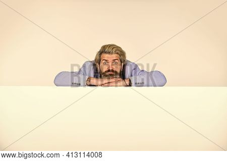 Handsome Man With Stylish Hairdo. Portrait Of Professional Businessman With Copy Space. Formal Male