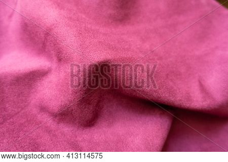 Jammed Bright Cerise Colored Faux Suede Fabric