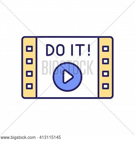 Motivational Video Rgb Color Icon. Information Of Video Helping To Self-motivation. Podcasts And Aud