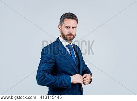 Confident Businessman With Bristle. Male Beauty And Fashion. Charismatic Business Man Or Manager. Bo