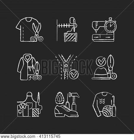 Sewing Chalk White Icons Set On Black Background. Resizing Shirts. Needlecraft Workshop. Garment Res