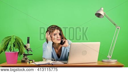 Talking Instead Of Studying. Girl Pretty Attractive Student With Laptop. Modern Student Girl. Educat