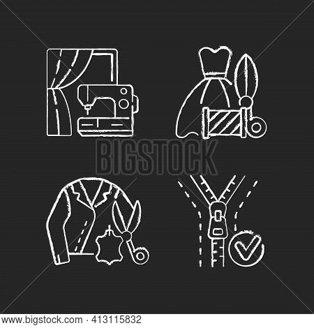 Clothes Repair Service Chalk White Icons Set On Black Background. Professional Upholstery. Sewing Ma
