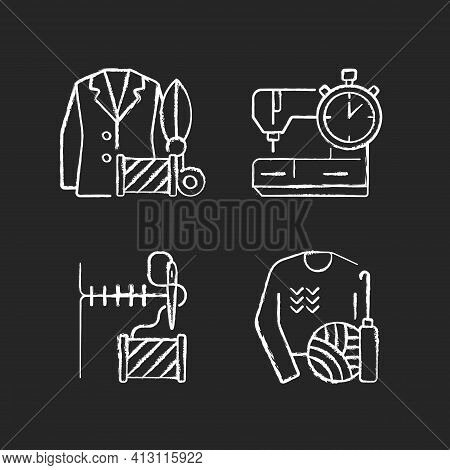 Outfit Repair Services Chalk White Icons Set On Black Background. Custom Clothes Production. Knitwea