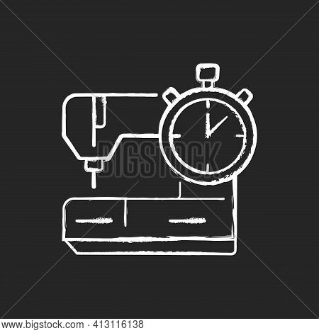 Same Day And Emergency Tailoring Chalk White Icon On Black Background. Sewing Machine. Urgent Outfit