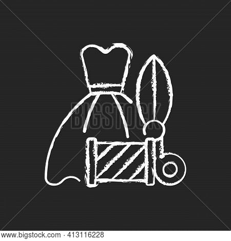 Wedding And Prom Gown Alterations Chalk White Icon On Black Background. Dress Sewing And Fixing. Gar