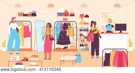 Women Buying In Boutique. Fashion Clothes Shop Discount, Vendor And Shopping Female Consumers. Dress