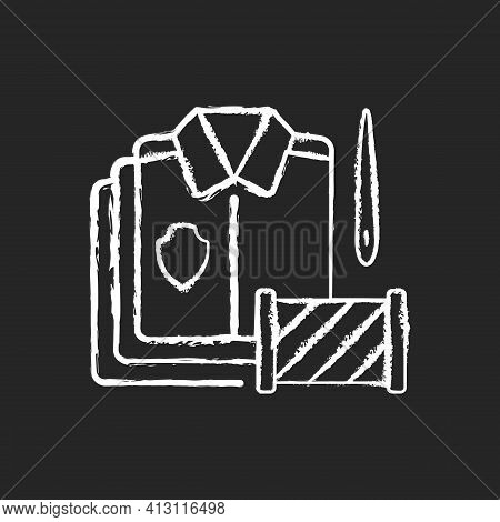 Bulk Orders Chalk White Icon On Black Background. Professional Garment Production. Material And Fabr