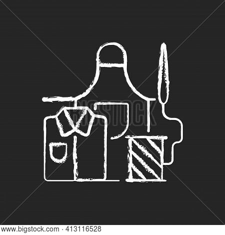 Work Clothes Repair Chalk White Icon On Black Background. Sewing Industrial Outfit On Manufacture. G