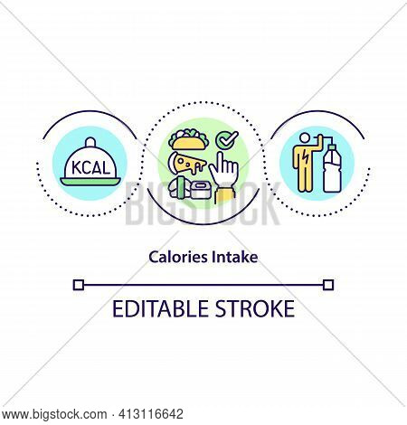 Calories Intake Concept Icon. Diet Plan. Count Meal Servings. Healthy Eating. Intermittent Fasting I