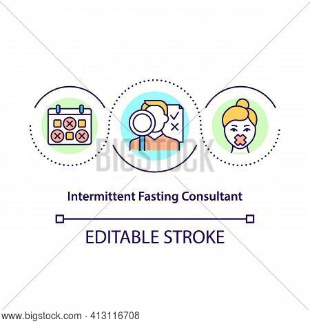 Intermittent Fasting Consultant Concept Icon. Dietitian Expertise. Professional Nutritionist. Dietar