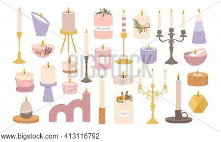 Candles In Candlesticks. Vintage Old Candelabras And Modern Candlestick. Decorative Burning Candle I