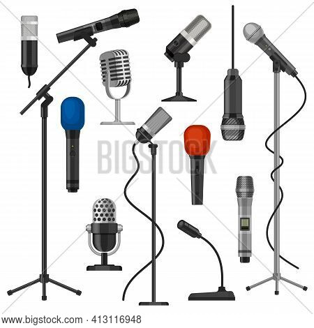 Microphones On Stands. Singer Mic With Wire For Stage Performance. Music Studio Audio Record Equipme
