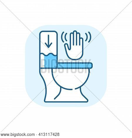 Touchless Toilet Flush Blue Rgb Color Icon. Advanced Flushing Systems That Do Not Require Contact Wi