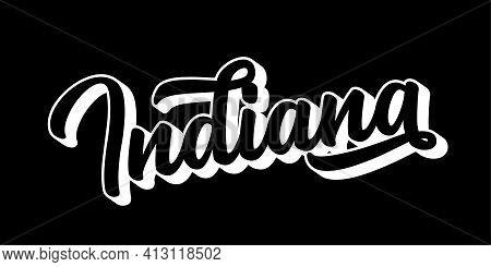 Hand Sketched Indiana Text. 3d Vintage, Retro Lettering For Poster, Sticker, Flyer, Header, Card
