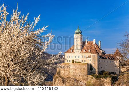 The Medieval Schonbuhel Castle, Built On A Rock Over Danube River During Spring Time In Wachau Valle