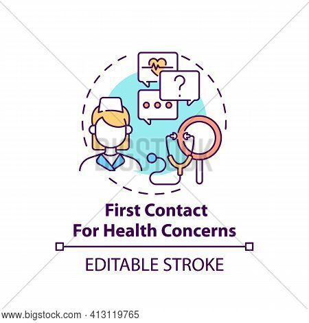 First Contact For Health Concerns Concept Icon. Clinical Assistance For Patient Problems. Family Doc