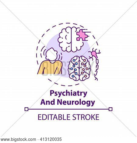 Psychiatry And Neurology Concept Icon. Mental Disorder. Problem With Brain Health. Medical Assistanc