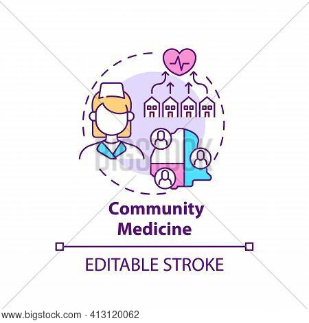 Community Medicine Concept Icon. Public Healthcare Service. Therapist Assistance. Family Doctor Idea