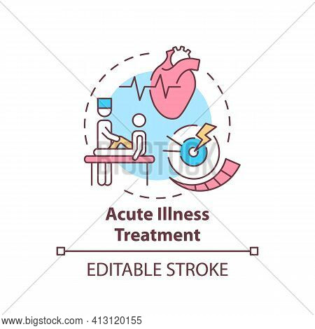 Acute Illness Treatment Concept Icon. Patient Visit General Practitioner. Healthcare Treatment. Fami