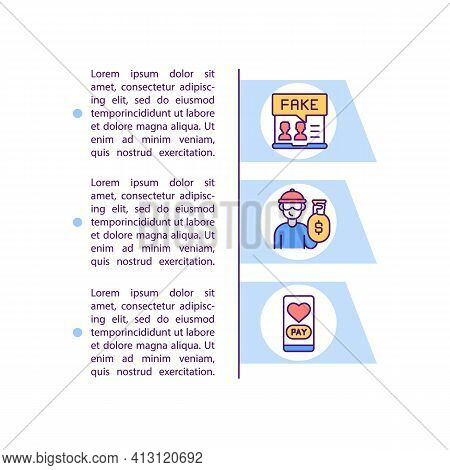 Beware Money Requests Concept Line Icons With Text. Ppt Page Vector Template With Copy Space. Brochu