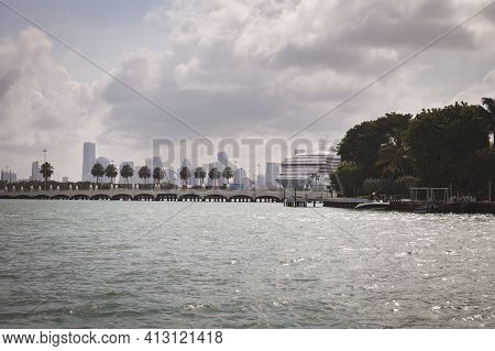 Miami, Florida, Usa, May 27, 2013: View Of Downtown Miami From A Pleasure Boat. Embankment, Moored C
