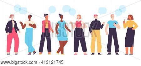 People Communicate. Diverse Character Group Chatting And Talking. Flat Students With Dialogue Speech