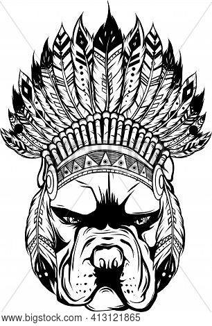 Draw In Black And White Of Pitbull Dog Head With Indian Hat, Vector Illustration