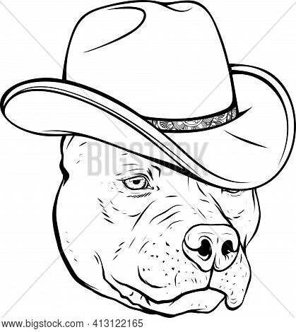 Draw In Black And White Of Head Pitbull With Fedora Hat Vector Illustration
