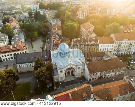Aerial View Of Choral Synagogue Of Vilnius, The Only Synagogue Of The City That Is Still In Use.
