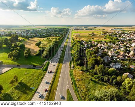 Aerial View Of A Highway Road. Cars Passing, Highway Junction, Cross Roads. Kaunas, Lithuania
