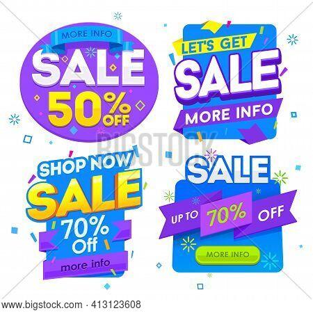 Sale Banner, Badges, Design Vector Illustration. Badges Set Vector Discount Clearance
