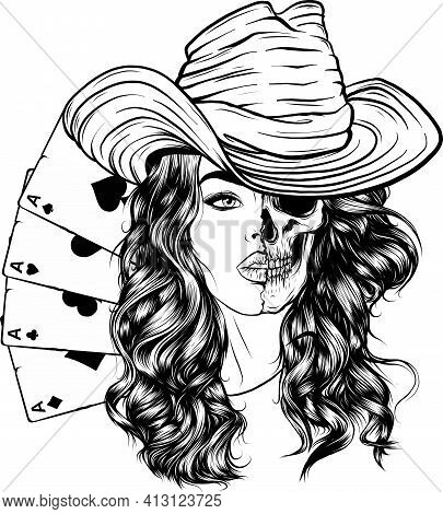 Draw In Black And White Of Attractive Skull Cowgirl With With Poker Ace
