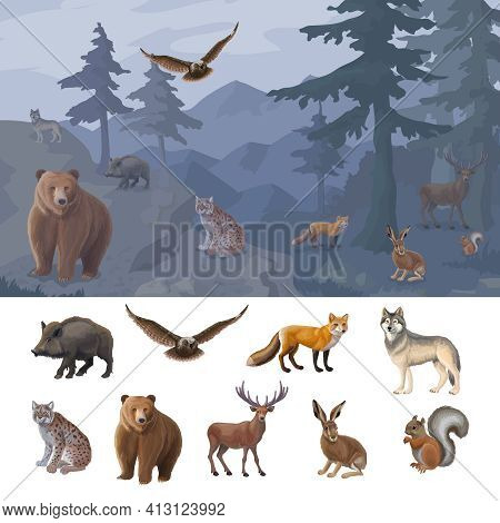 Cartoon Colorful Forest Animals Set With Wild Boar Owl Fox Wolf Lynx Bear Deer Hare Squirrel Vector
