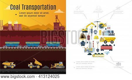 Flat Mining Industry Composition With Coal Transportation Concept Excavator Wagons Factory Shovel Pi