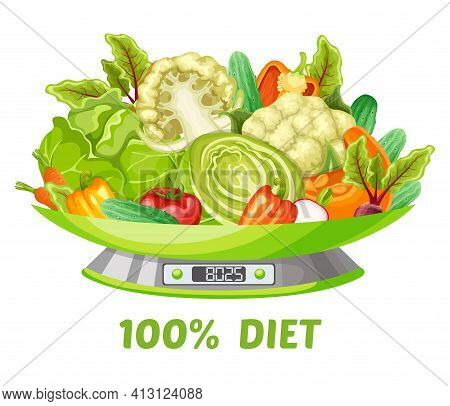 Light Vegetable Diet Concept With Carrot Cabbage Cucumber Pumpkin Pepper Tomato Broccoli Cauliflower