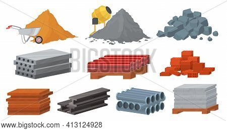 Construction Materials Set, Flat Vector Illustration. Pile Of Sand Cement Stones Bricks. Gypsum Bloc