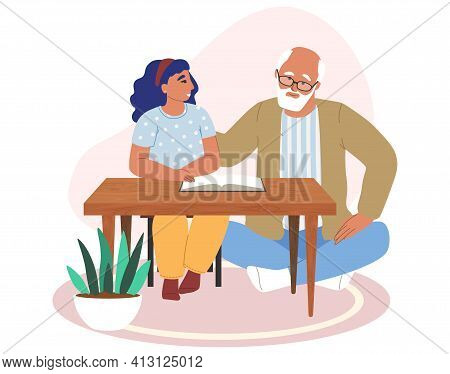 Happy Grandfather And Granddaughter Reading Book Together Flat Vector Illustration. Grandparent Gran
